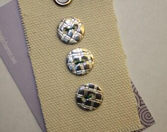 Retro Plaid Design - 1/2 inch Fine Silver Buttons