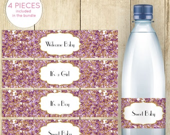 Water Bottle Labels for Baby Shower Purple and Gold Printable Instant Download It's a Girl Wrappers Stickers for Party Favors 0042A-RPR