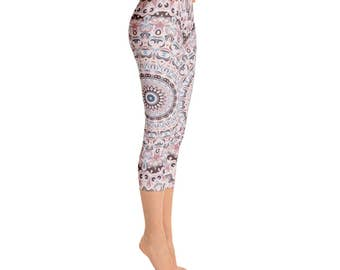 Capri Yoga Pants Women - Unique Yoga Leggings, Mandala Printed Leggings Tights