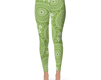 Avocado Green Yoga Leggings - Green Leggings, Green and White Printed Leggings, Mandala Art Tights, Green Stretch Pants