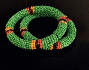 Beaded set of two Zambian bracelets