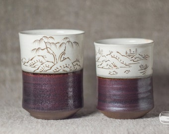 Couple of Meoto Yunomi tea cups for Japanese tea - handmade *0608-1