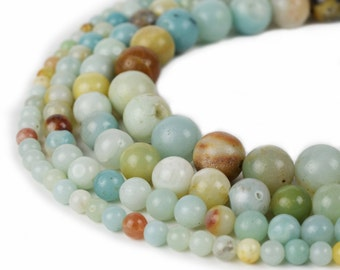 "Natural Amazonite Beads 4mm 6mm 8mm 10mm Round 15.5"" Full Strand Wholesale Gemstones"