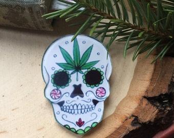 stoner skull pin, gift for her