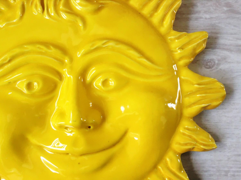 Smiling yellow sun wall hanging ceramics [E10231018401423522M ...