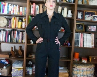 Vintage 70's Black Jumpsuit