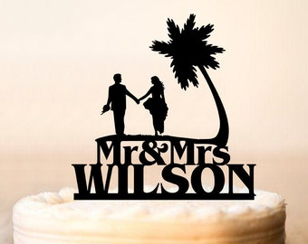 Mr & Mrs Wedding Cake Topper With Last Name,Beach Cake Topper, Palm Tree Topper,Custom Topper,Personalized Topper, Couple Cake Topper (0182)