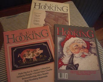 Set of Three Rug Hooking Magazines from 1990