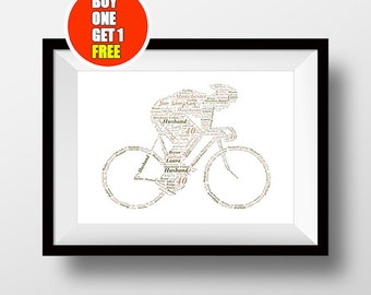 Bike artwork,  cyclist present, cyclist, cyclist print, bikeword art