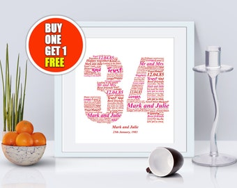 34th anniversary, 34th anniversary gift, thirty fourth anniversary, 34th anniversary present, 34th wedding idea