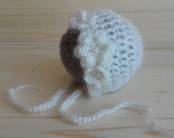 Mohair Newborn Hat, Newborn Bonnet, Newborn Photo Prop, Crochet Newborn Bonnet, Infant Hat, Newborn Girl Hat, Baby Hat, Handmade Baby Hat