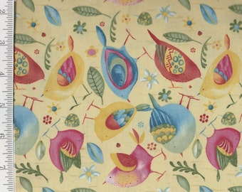 Woodsy Colorful Birds - Per Yd - Clothworks - Barb Tourtillotte - Yellow