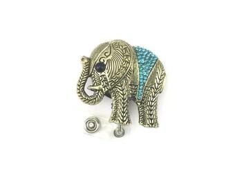 Elephant Badge Holder-Retractable ID Badge Holder-Designer Badge-Badge Reel-Elephant Badge Reel-Elephant Id Badge Holder-Id Reel