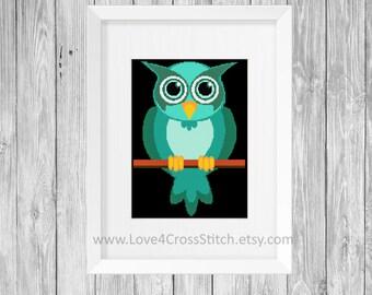 Cartoon Owl Cross Stitch Pattern, Cute Owl Cross Stitch, Easy Owl Cross Stitch, Teal Owl Cross Stitch Pattern Modern, PDF Pattern Modern