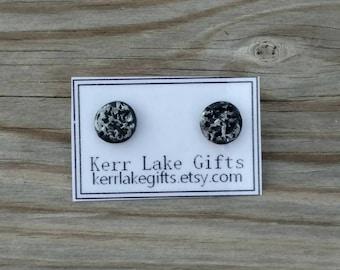 Moon rock earrings studs, Black lava rock earrings, Stone studs, Volcanic rock studs, Nickel free plastic post, Unique studs, geode studs