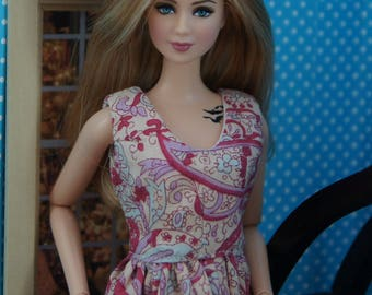 Paisley patterned dress for a barbie doll with standard body