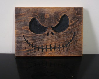 Jack Skellington wood carving