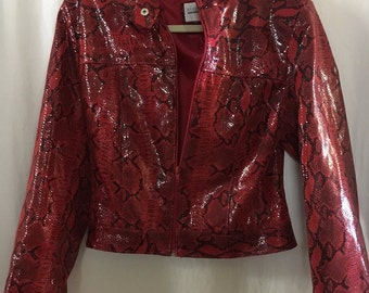 100% Leather Red and Black Bolero Jacket Made in Italy by Rossodisera With Snakeskin Pattern