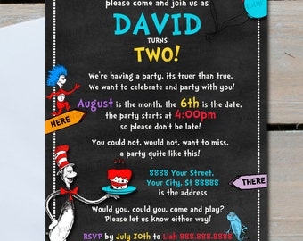 Dr Seuss Birthday Invitations,Dr Seuss, Cat in Hat, Chalkboard, Birthday Party, 5x7,Customized, Printed or Digital File *** FREE SHIPPING