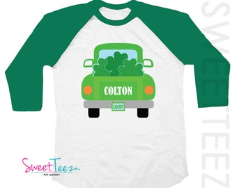 St Patrick's Day Shirt Truck Shamrock shirt Boy Personalized Black Green Raglan Lucky Shirt Toddler Youth Funny