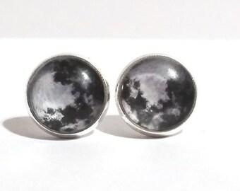 Silver Moon Earrings, Lunar Earrings, Galaxy Earrings, Silver Stud