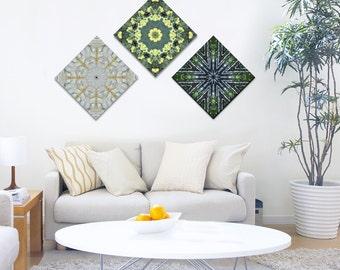 Set of 3 prints on canvas ~ Modern Art for Living Room ~ Mandala Wall Art ~ Sacred Geometry ~ Nature Photography ~ Feng Shui decor
