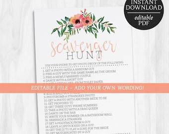 Scavenger Hunt Game | Editable Scavenger Hunt Game | Floral Games | Bachelorette Games | Hens Party Games | Printable Games | Editable Games