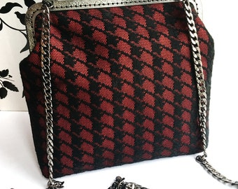 Red Black Crossbody Clutch Bag