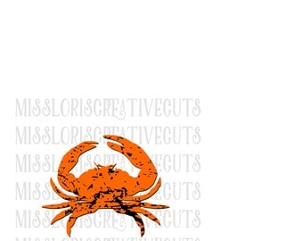 Crab distressed SVG   cut file  t-shirts  antiquescrapbook vinyl decal wood sign cricut cameo Commercial use