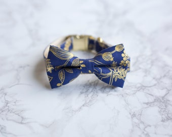 Bow Tie Collar | Rifle Paper Co Les Fleurs Royal Blue Botanical | Dog & Cat