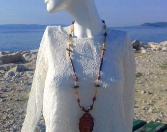 Mixed media necklace, retirement gift, eco friendly, natural, handmade, wooden boho necklace, polymer clay, winter necklace, gift for woman