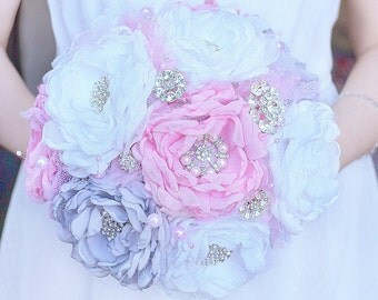 Wedding bouquet brooch bouquet fabric bouquet bridal alternative bouquet beach bouquet pink grey bouquet vintage broach bouquet chiffon