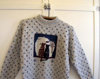 1990'S Woolrich Cat Sweater, Women's small, Woolrich, Novelty Print, Cat, Sweater, Wool, Gray, Crew neck, 1990's