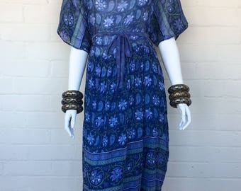 Vintage 70's Indian Boho Sheer Cotton Gauze Ethnic Floral Hippie Bohemian Festival Midi DRESS