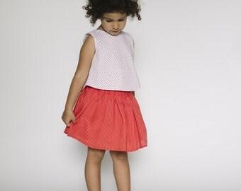 Girls red white stripe Skirt, Linen Skirt, Elastic Waist, Boho Skirt, Casual Skirt, Kids Summer, Toddler gift, Girl's summer skirt,mayaandme