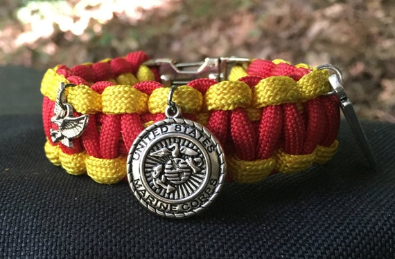 US Marines Paracord Bracelet, Marine vintage silver plated charm, also with black survival whistle buckle
