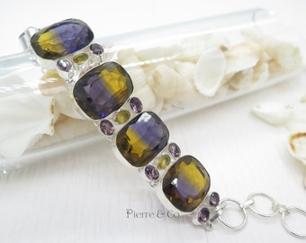 Lab stimulated Ametrine Citrine and Amethyst Sterling Silver Bracelet
