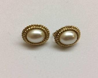 Signed Richelieu Faux Pearl Earrings