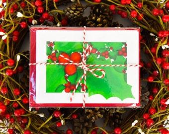 Holly Christmas Card Pack-Christmas Card Set-Xmas Card Pack-Holiday Card Set-Christmas Holly Painting-Art Christmas Cards UK- xmas Multipack