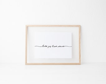 Love Joy Hope Peace print, Christmas print, Christmas decorations, Wall art printables, Calligraphy print, Tyopgraphy art, Christmas decor