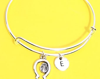 Lucky bangle, good luck bracelet, Ladybug charm bracelet, ladybug  jewelry, custom bee jewelry, personalized,initial, Ladybug gift, bangles