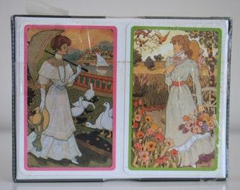 Piatnik Supreme playing cards 'Spring 1900'  2 x 54 card decks in box sealed decks Bridge cards vintage
