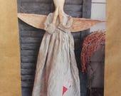 Folk Art Angel by Kinsey Primitives  - Primitive Hanging Angel Doll Pattern - Uncut Craft Sewing Pattern