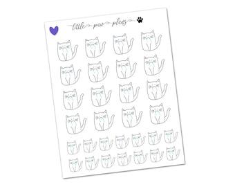 30 Sad Cat - Marshmallow // Hand Drawn Planner Stickers // Erin Condren, Filofax, Kikki K, Happy Planner