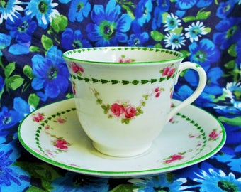 Vintage Heathcote China Cup and Saucer - 1912+  Victoria by H.M Williamson & Sons - Made in Longton,England - used