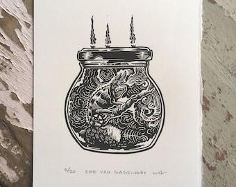 Free shipping // Chameleon jam // Original linocut relief print