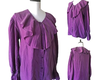 Vintage Silk Ruffled Poet Blouse