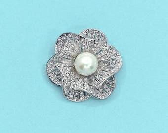 Vintage Rhinestone Crystal Pearl Brooch Wedding Accessories Bridal Brooch bouquet DIY Crafts