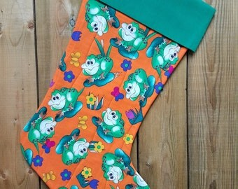 Frogs Splash Quilted Christmas Stocking