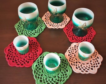 Set 6 napkins, Cup holder crochet, colored napkin, table decoration, small napkins, decor glasses, home decor, openwork lace, red, green.